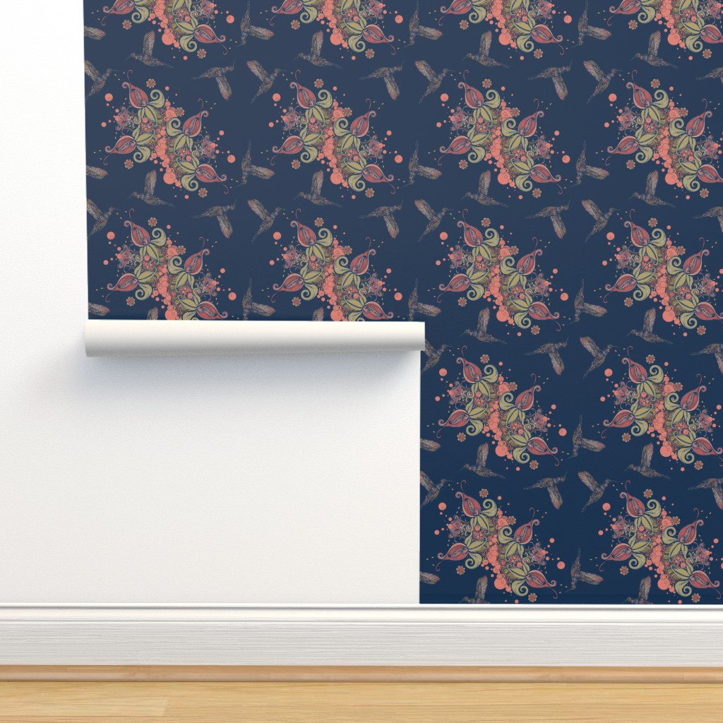 Isobar Durable Wallpaper featuring Flight of the Humming Bird Navy by rebeccaink