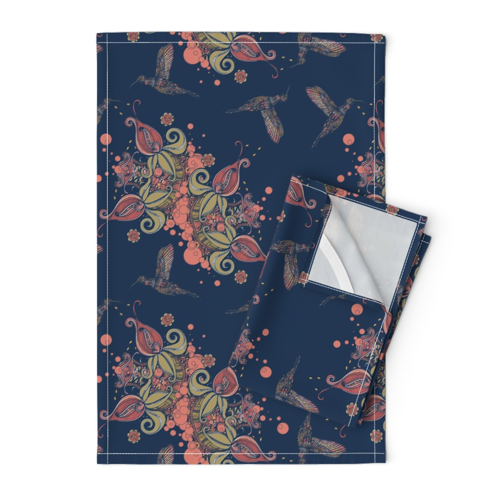 Orpington Tea Towels featuring Flight of the Humming Bird Navy by rebeccaink