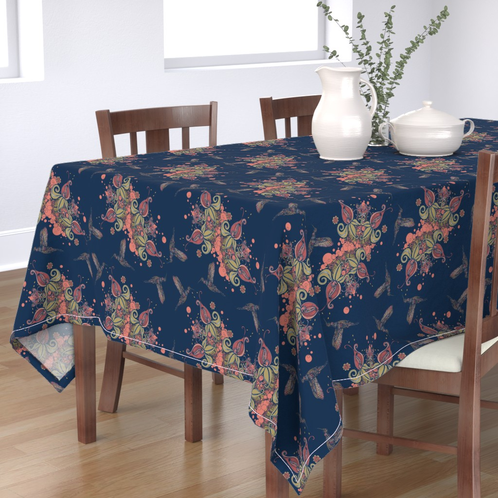 Bantam Rectangular Tablecloth featuring Flight of the Humming Bird Navy by rebeccaink