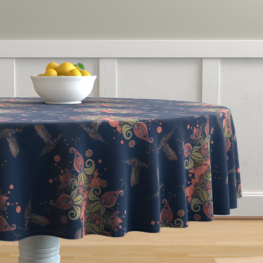 Malay Round Tablecloth featuring Flight of the Humming Bird Navy by rebeccaink