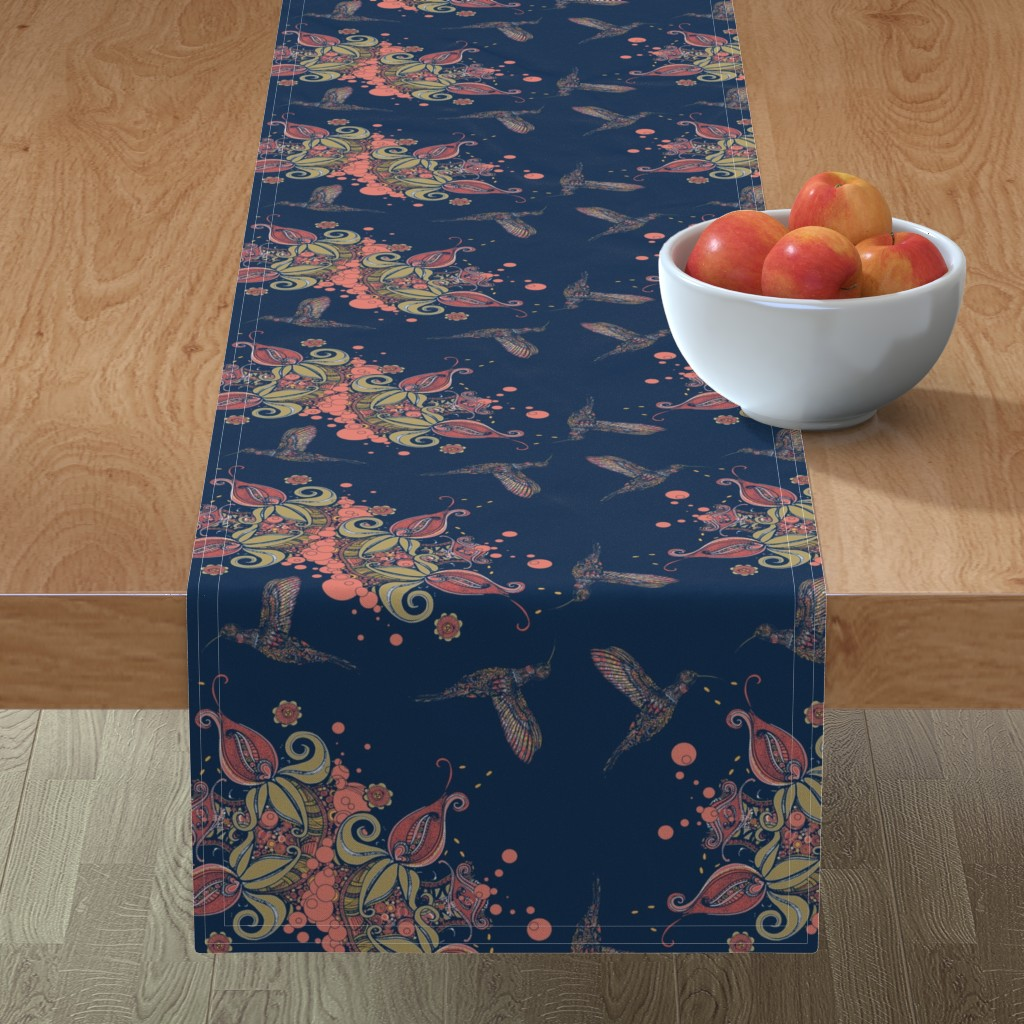 Minorca Table Runner featuring Flight of the Humming Bird Navy by rebeccaink