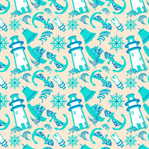 Nautical Assorted Print  #2 Cream (294)