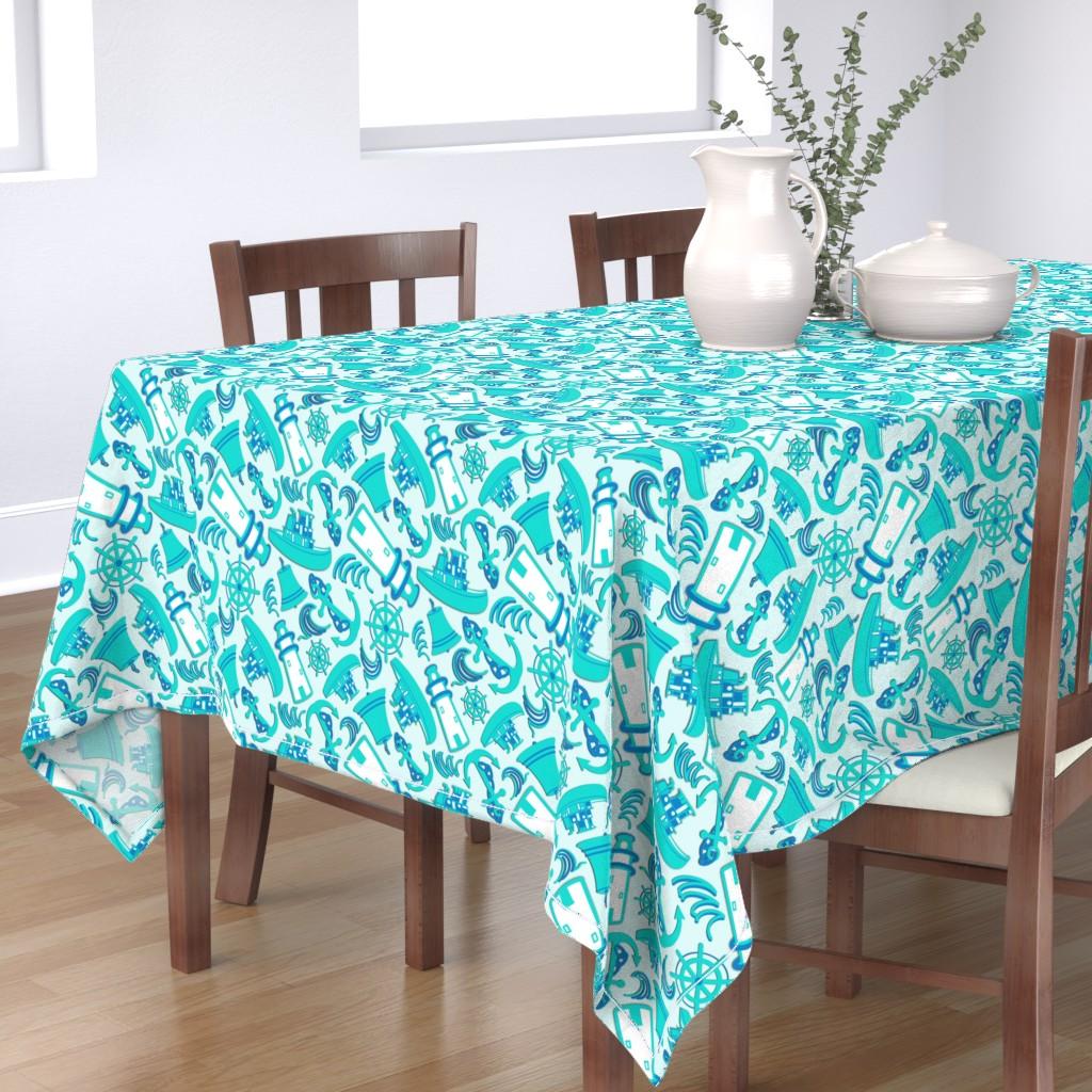 Bantam Rectangular Tablecloth featuring Nautical Print Assorted Blue (294) by kandyceartstudio