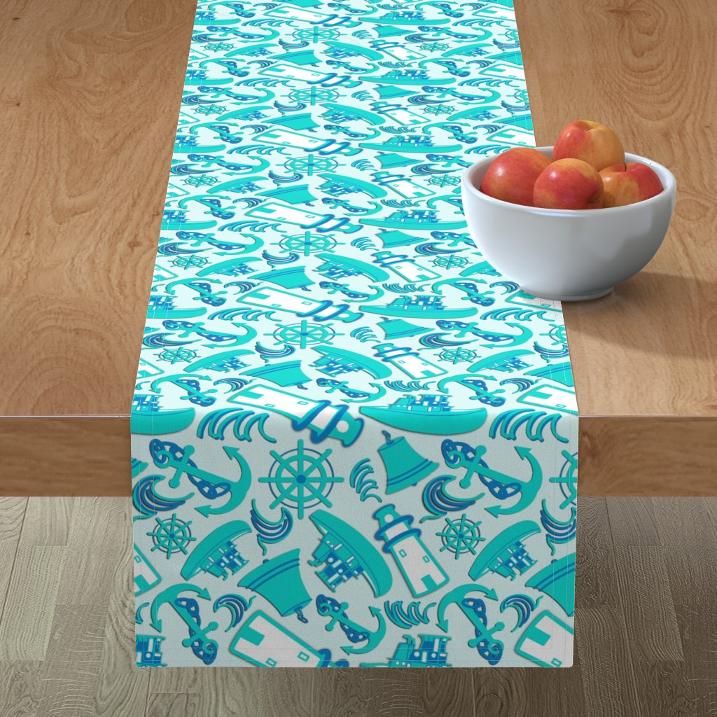 Minorca Table Runner featuring Nautical Print Assorted Blue (294) by kandyceartstudio