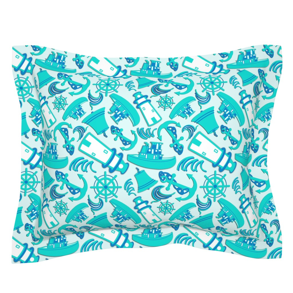 Sebright Pillow Sham featuring Nautical Print Assorted Blue (294) by kandyceartstudio