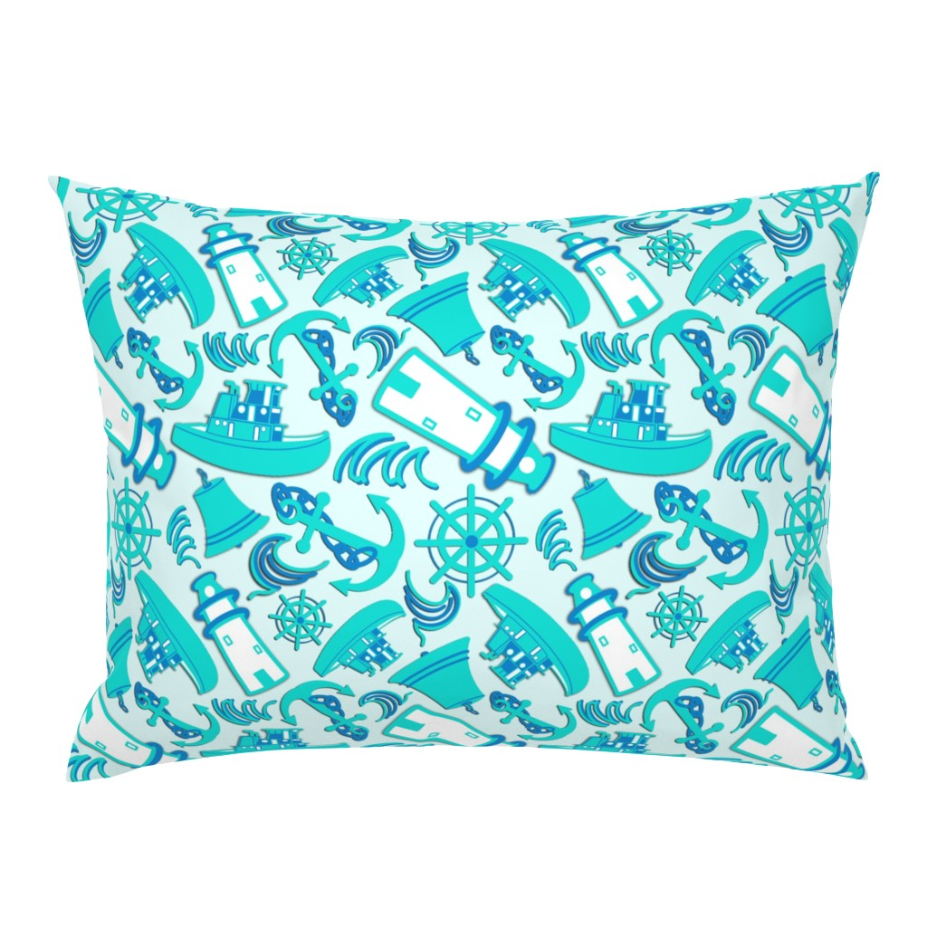 Campine Pillow Sham featuring Nautical Print Assorted Blue (294) by kandyceartstudio