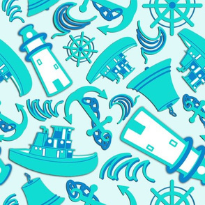 Nautical Print Assorted Blue (294)