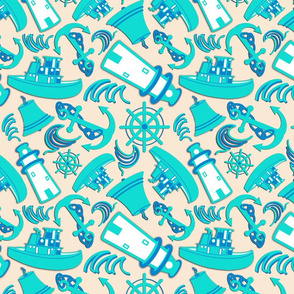 Nautical Print Assorted Cream