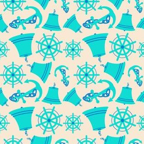 Nautical Print Assorted (wheel.bell.anchor) Cream (294)
