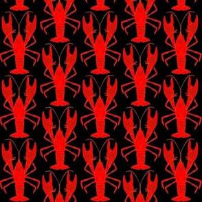 Red Crawfish Mudbug on Black