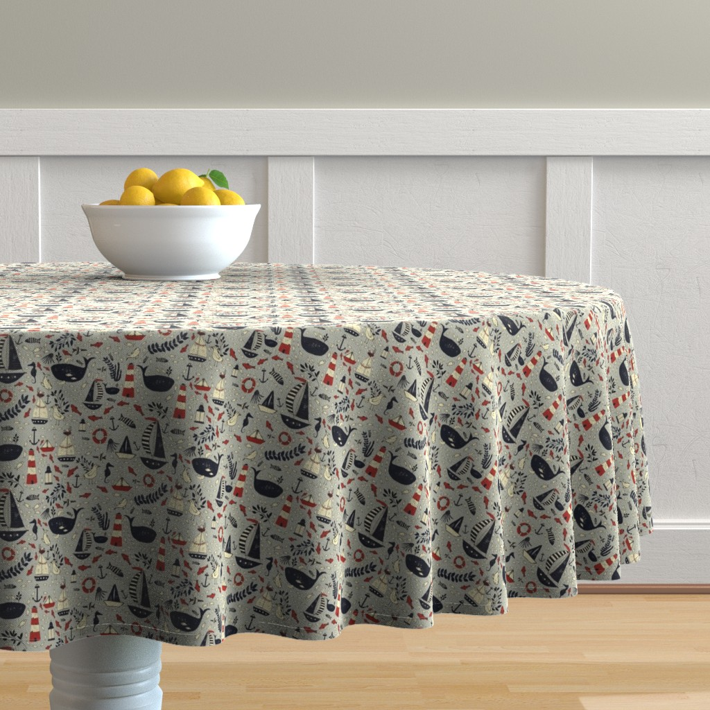 Malay Round Tablecloth featuring SF Nautical by lynnpriestleydesign