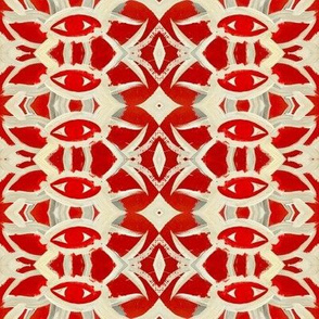 Red and Cream Eye Repeating Pattern