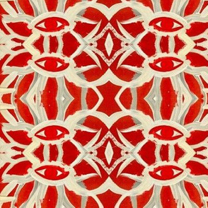 Red and cream hand painted eye pattern