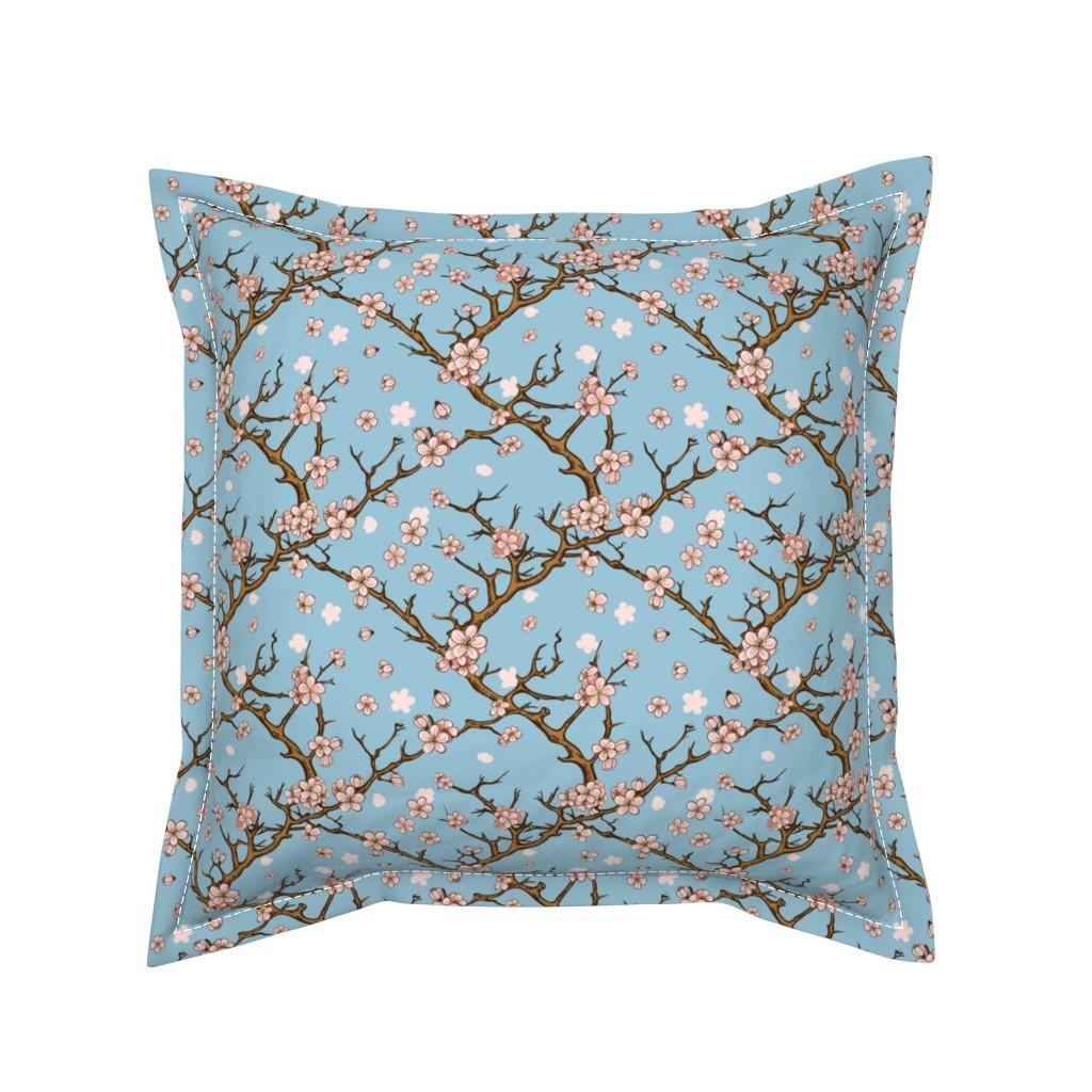 Serama Throw Pillow featuring Cherry Blossom Trellis by gypsea_art_designs