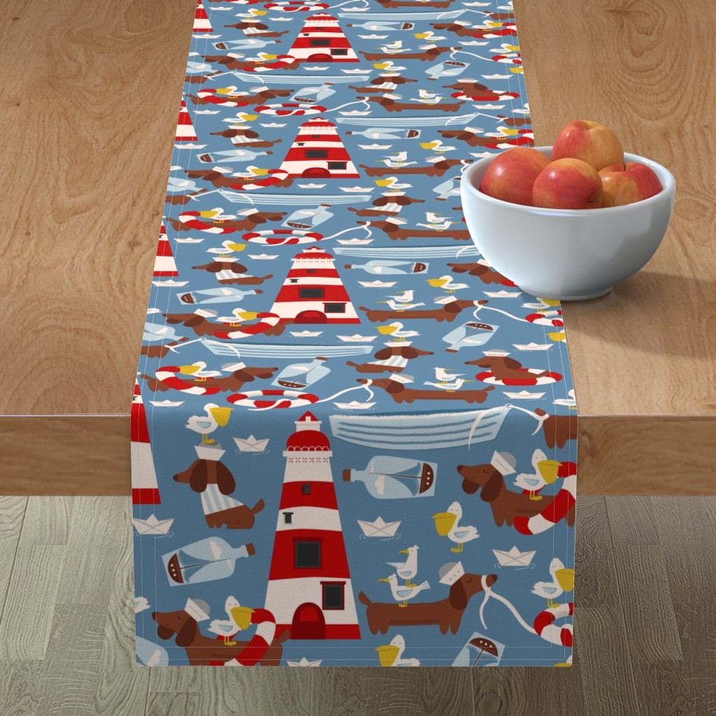 Minorca Table Runner featuring The Lifeguard by oliveandruby
