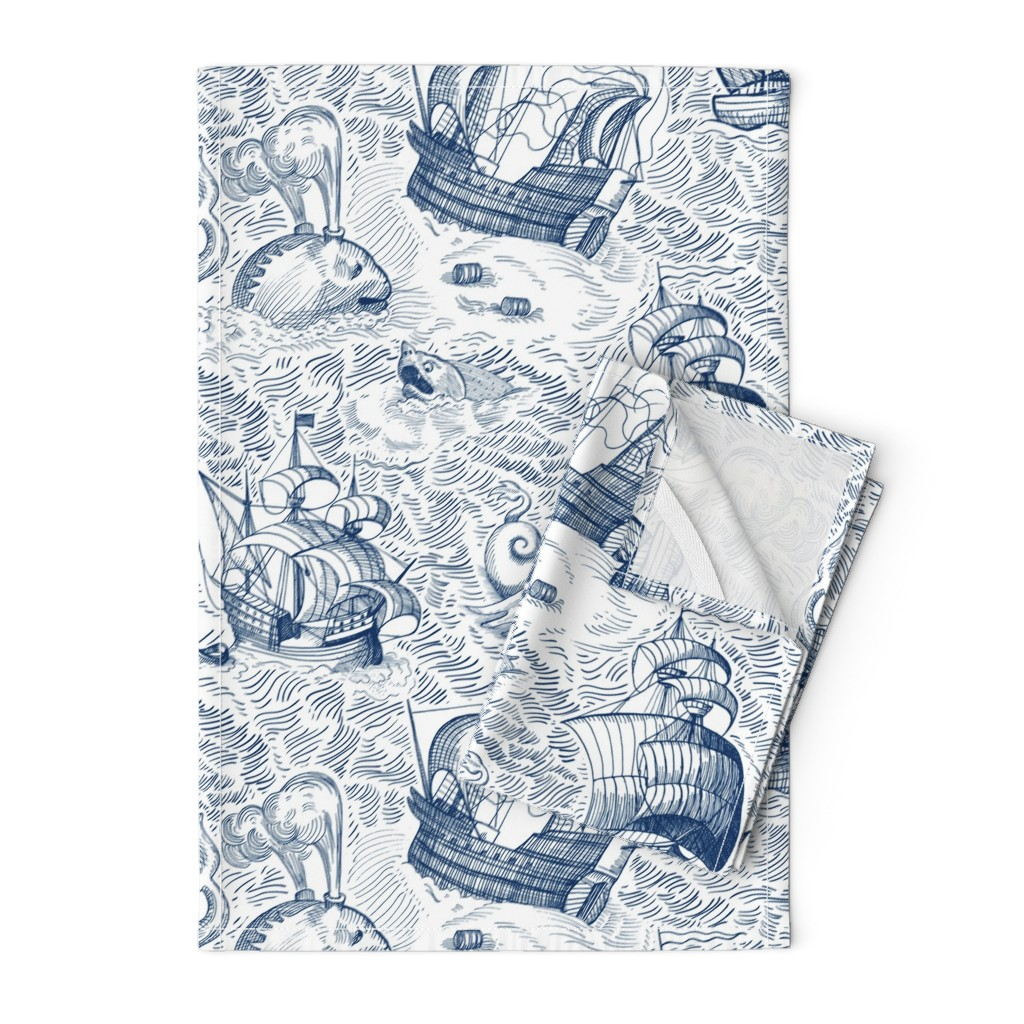 Orpington Tea Towels featuring ships in ocean, blue (large scale) by sveta_aho
