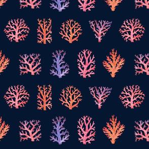 Living Coral Tile - Navy variant