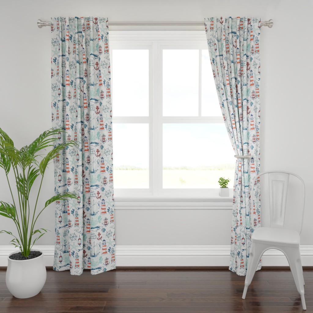 Plymouth Curtain Panel featuring Nautical Pacific by ohn_mar_win