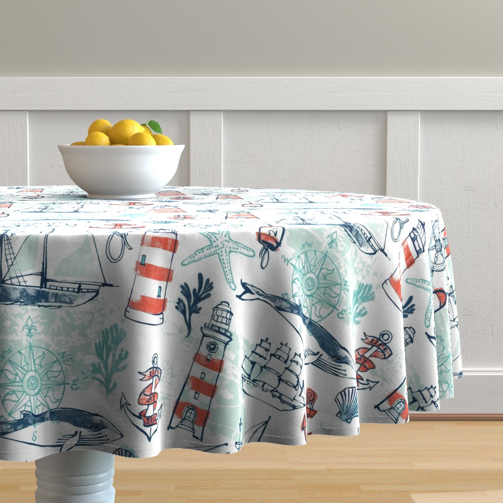 Malay Round Tablecloth featuring Nautical Pacific by ohn_mar_win
