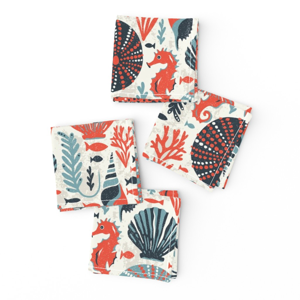 Frizzle Cocktail Napkins featuring Seaside - Coral Sands by heatherdutton