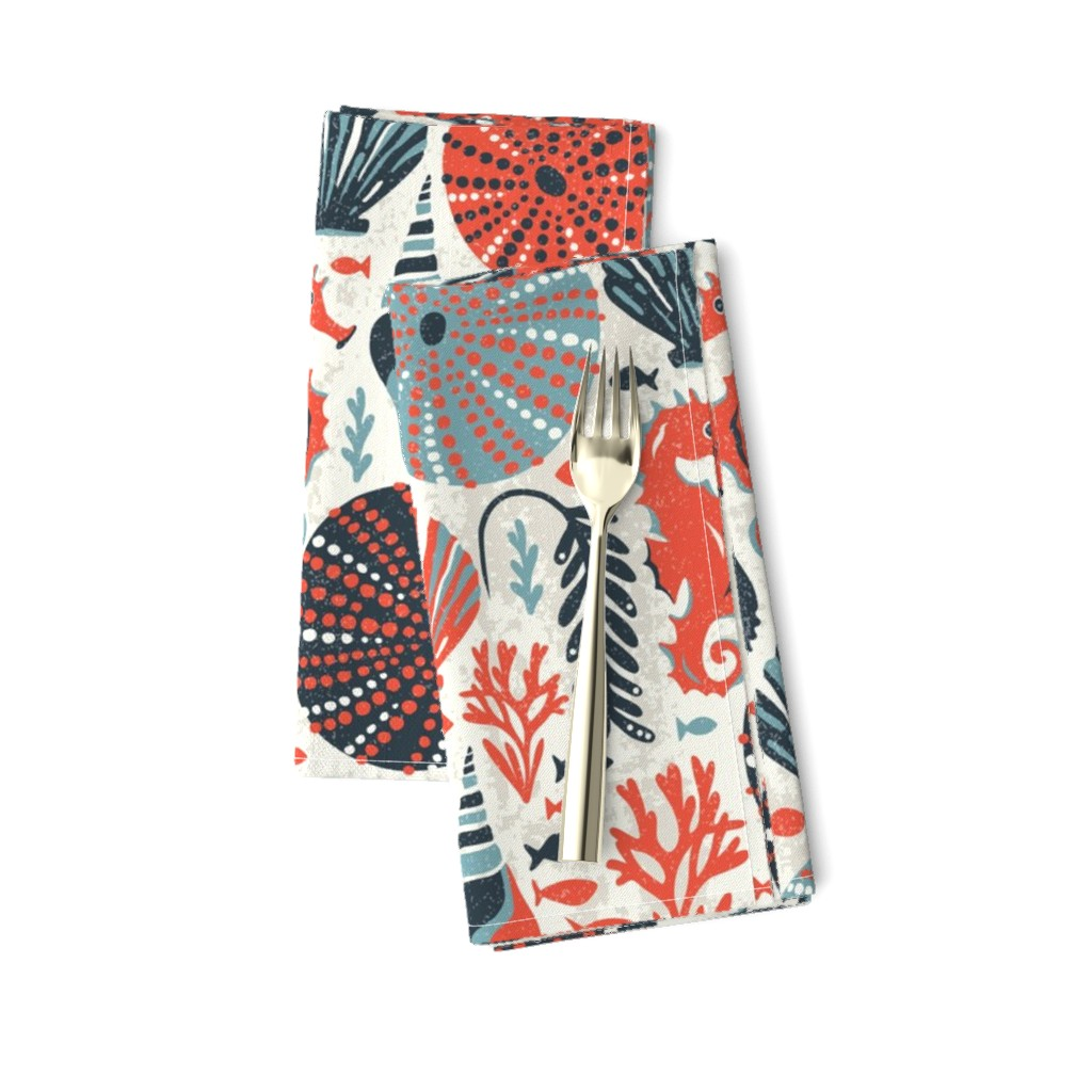 Amarela Dinner Napkins featuring Seaside - Coral Sands by heatherdutton
