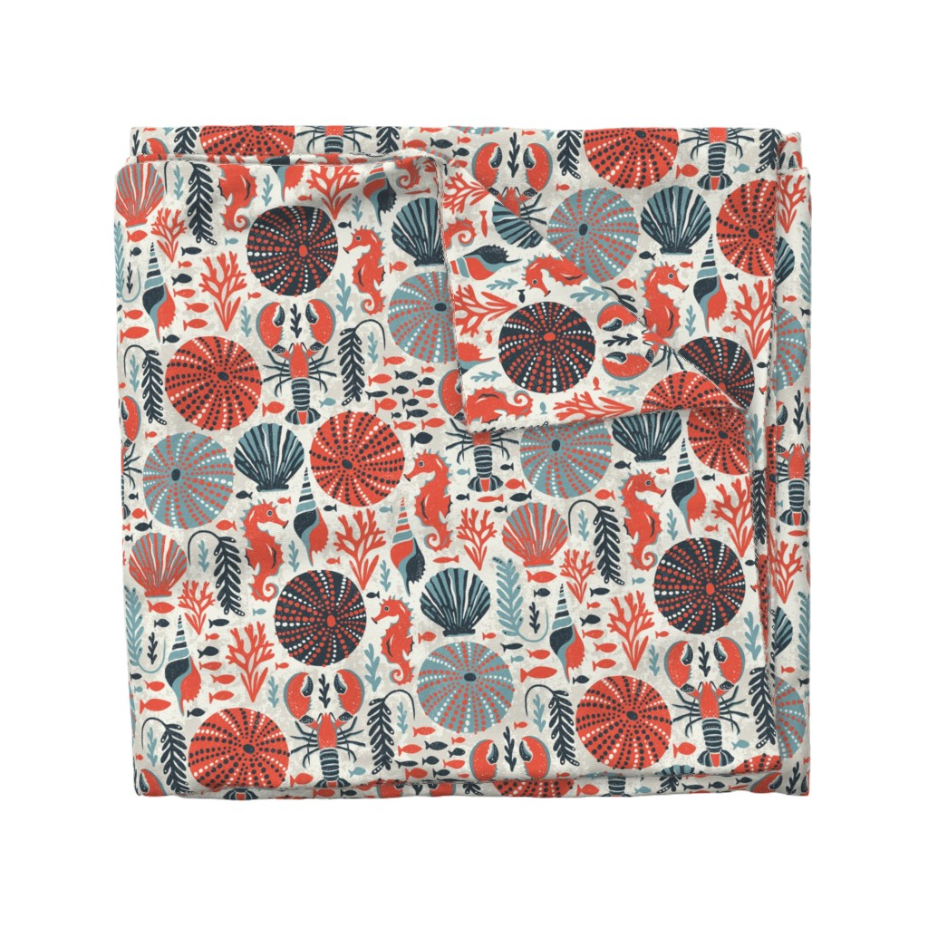 Wyandotte Duvet Cover featuring Seaside - Coral Sands by heatherdutton