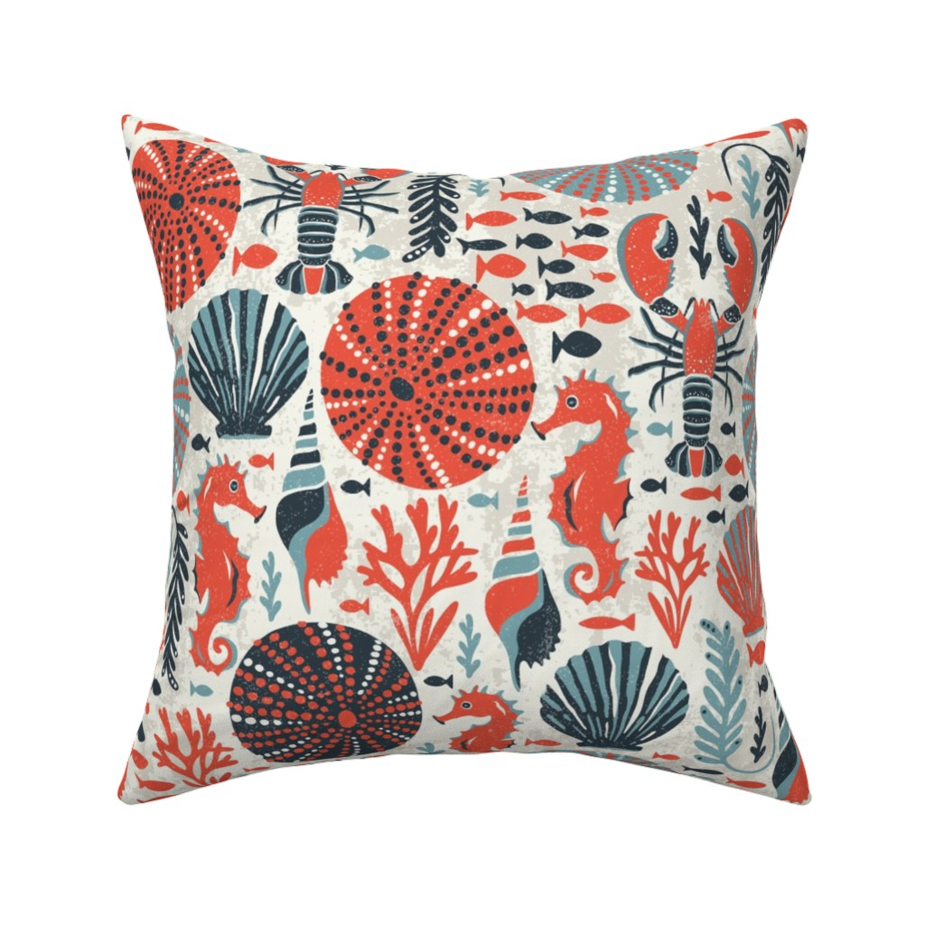 Catalan Throw Pillow featuring Seaside - Coral Sands by heatherdutton