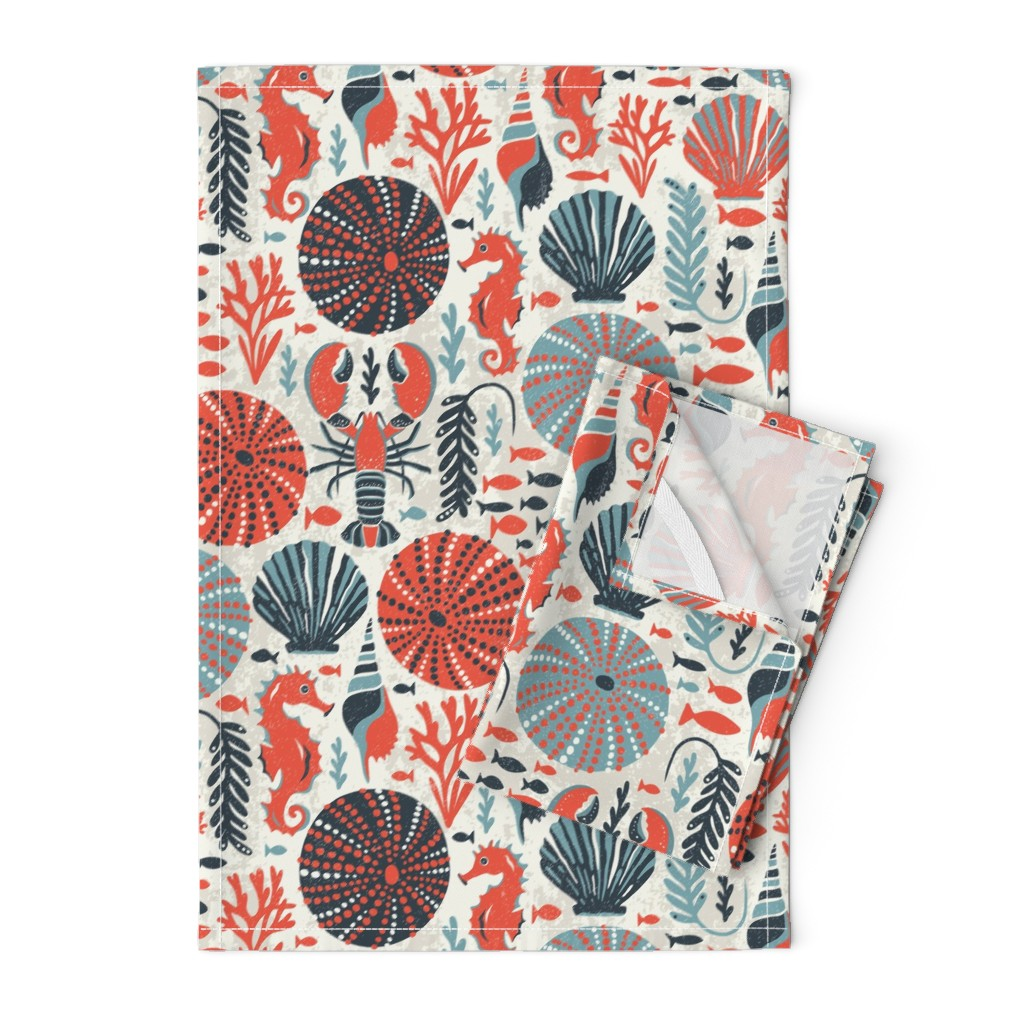 Orpington Tea Towels featuring Seaside - Coral Sands by heatherdutton