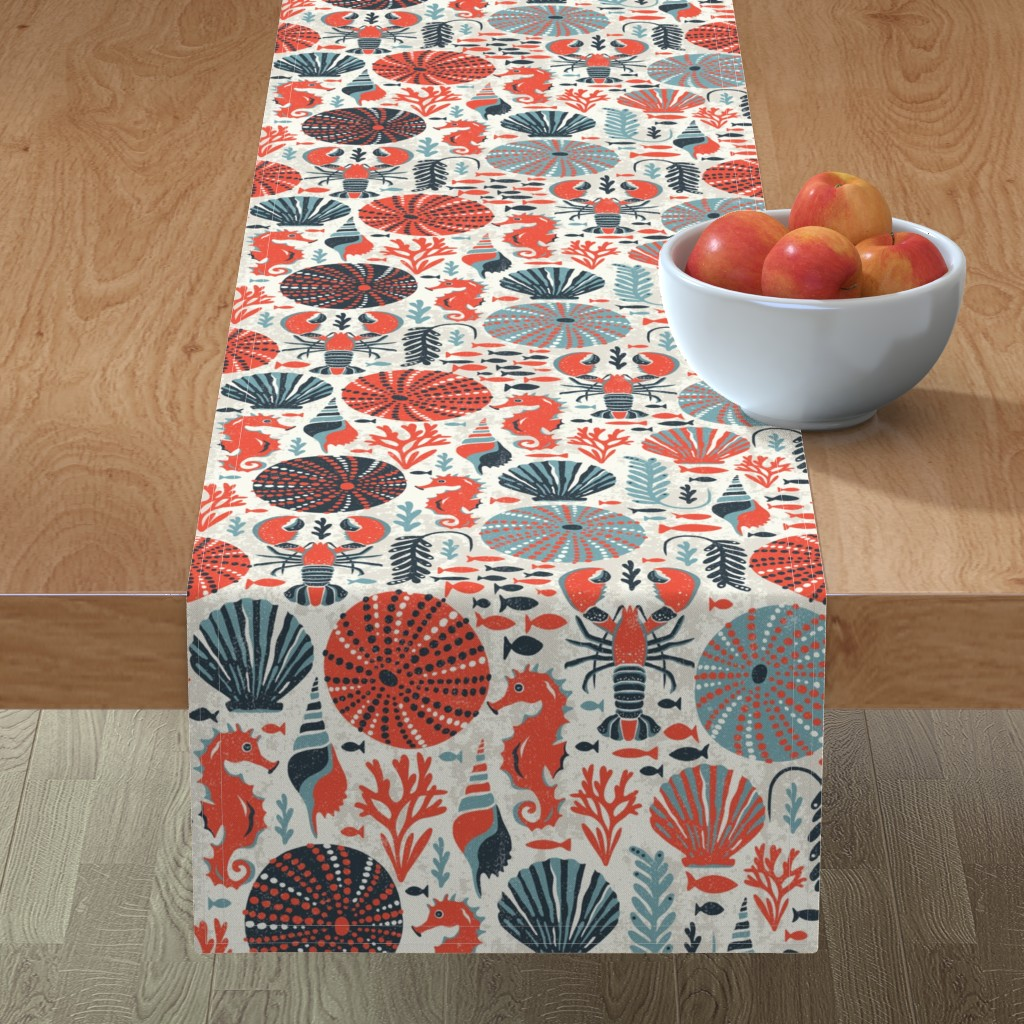 Minorca Table Runner featuring Seaside - Coral Sands by heatherdutton
