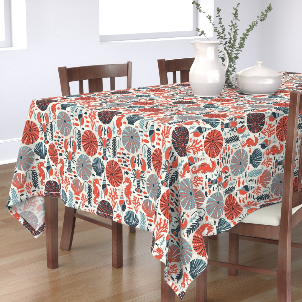 Bantam Rectangular Tablecloth featuring Seaside - Coral Sands by heatherdutton