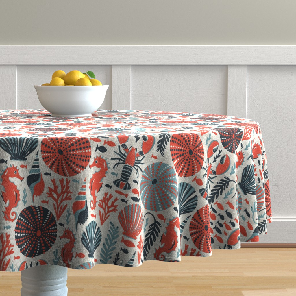 Malay Round Tablecloth featuring Seaside - Coral Sands by heatherdutton