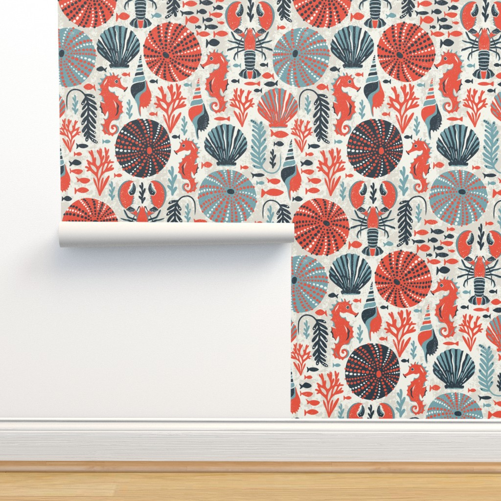Isobar Durable Wallpaper featuring Seaside - Coral Sands by heatherdutton