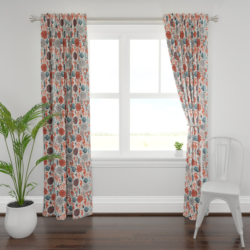 Plymouth Curtain Panel featuring Seaside - Coral Sands by heatherdutton