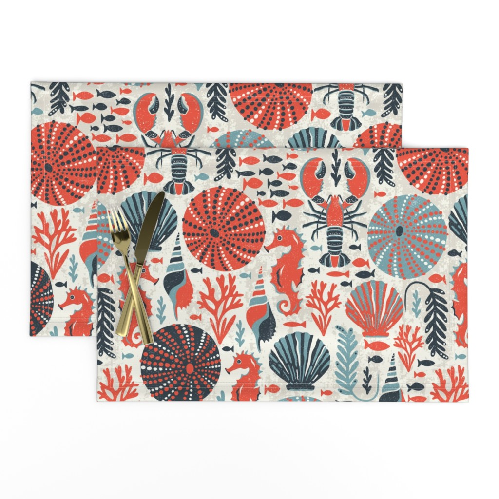 Lamona Cloth Placemats featuring Seaside - Coral Sands by heatherdutton