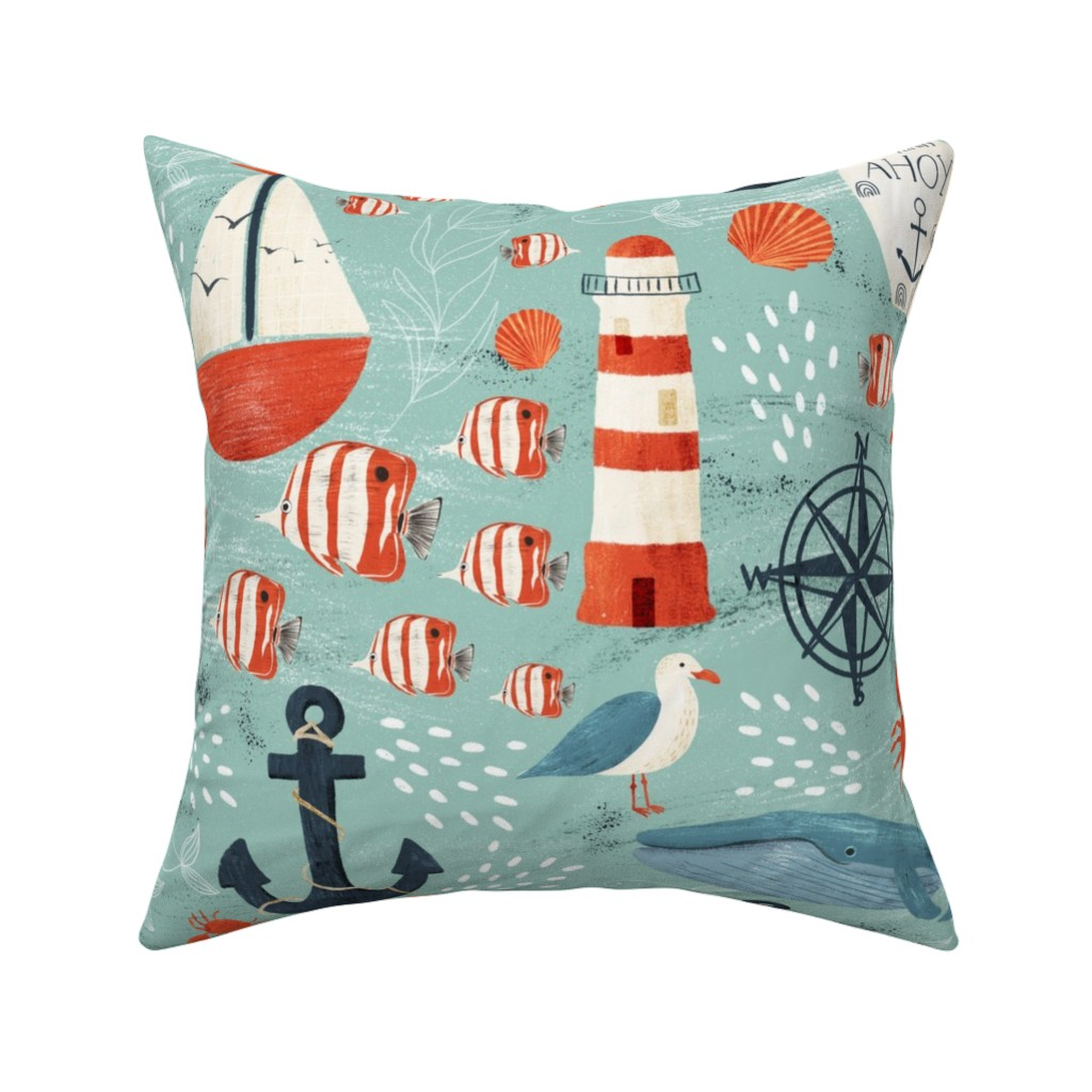 Catalan Throw Pillow featuring Ahoy by melarmstrong