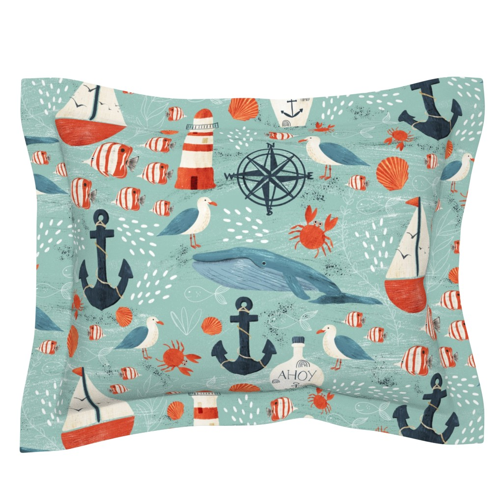 Sebright Pillow Sham featuring Ahoy by melarmstrongdesign