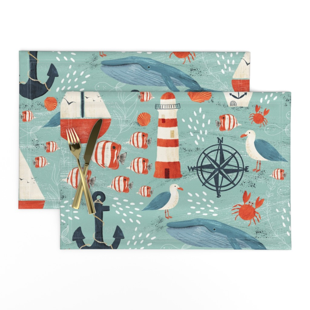 Lamona Cloth Placemats featuring Ahoy by melarmstrong