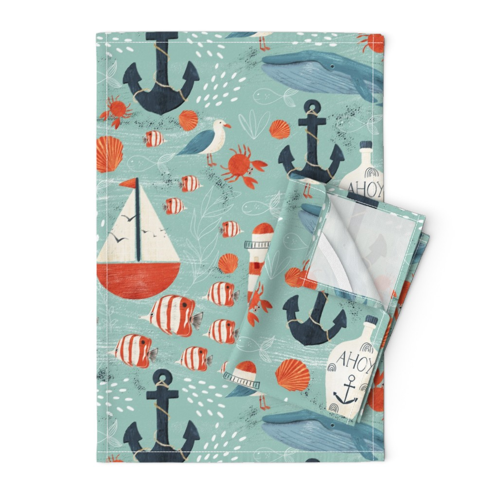 Orpington Tea Towels featuring Ahoy by melarmstrong