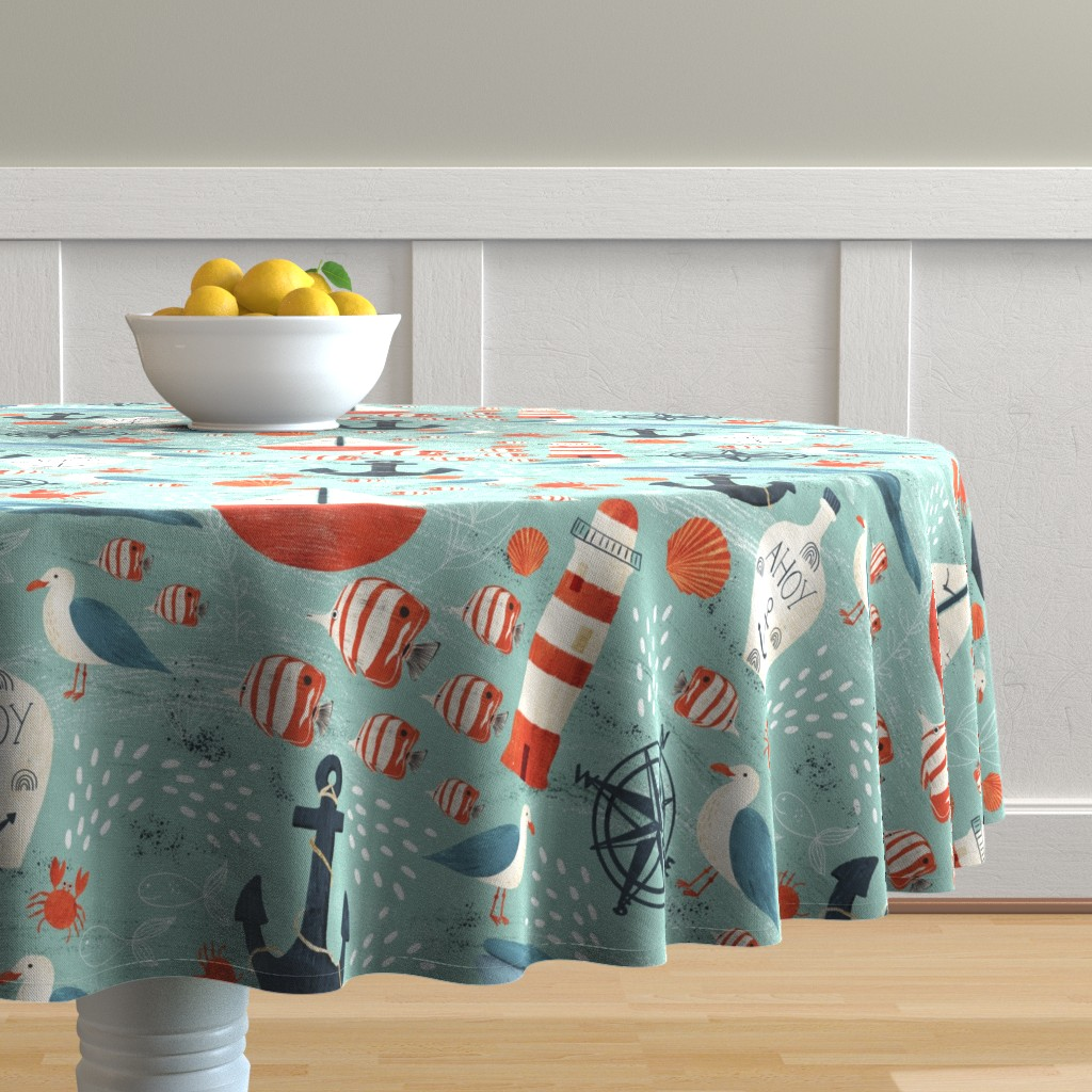 Malay Round Tablecloth featuring Ahoy by melarmstrong