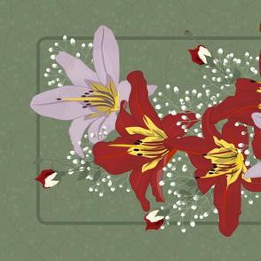 Daylily Bouquet Tea Towel: Red & Purple Dayliles, Roses, Baby's Breath