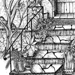 plants on stairs postcard-ed-ed-ed-ed