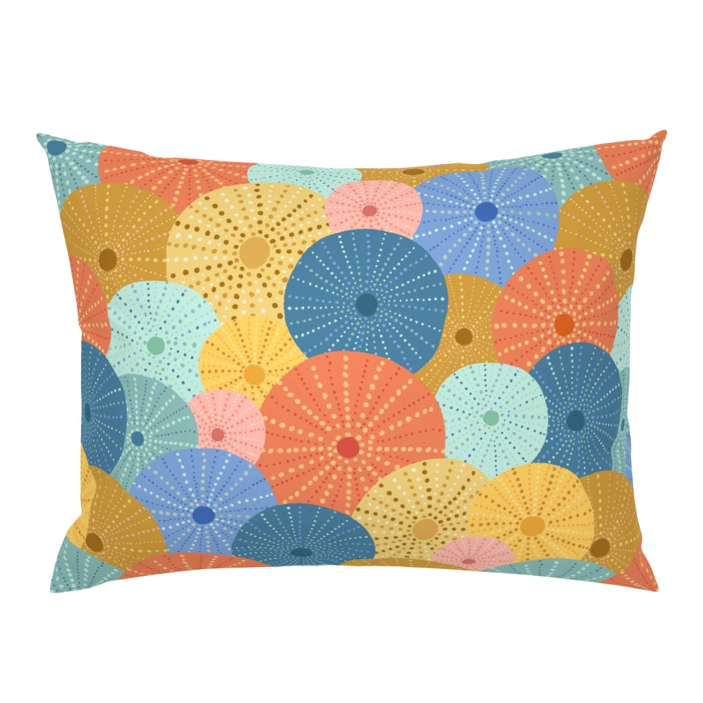 Campine Pillow Sham featuring Colorful Sea Urchins by latheandquill