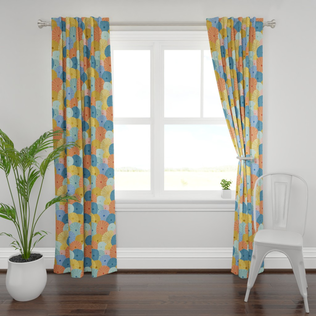 Plymouth Curtain Panel featuring Colorful Sea Urchins by latheandquill