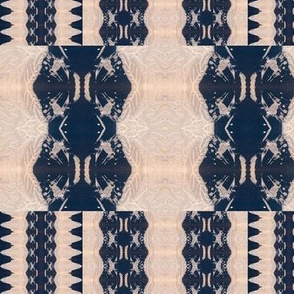 Cream, white crisp lines, Repeating Pattern Dark Blue Shapes