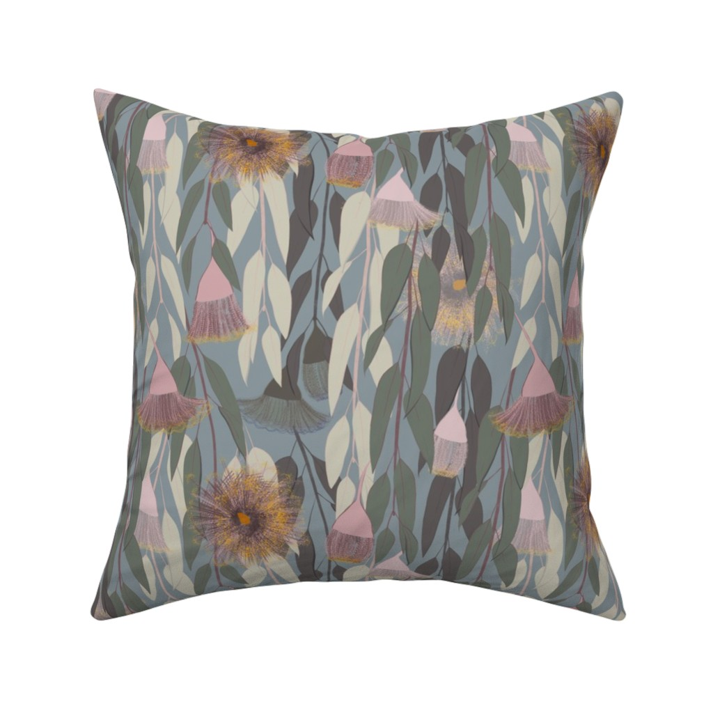 Catalan Throw Pillow featuring Flowering eucalyptus, australian flora by friedlosundstreitsuechtig