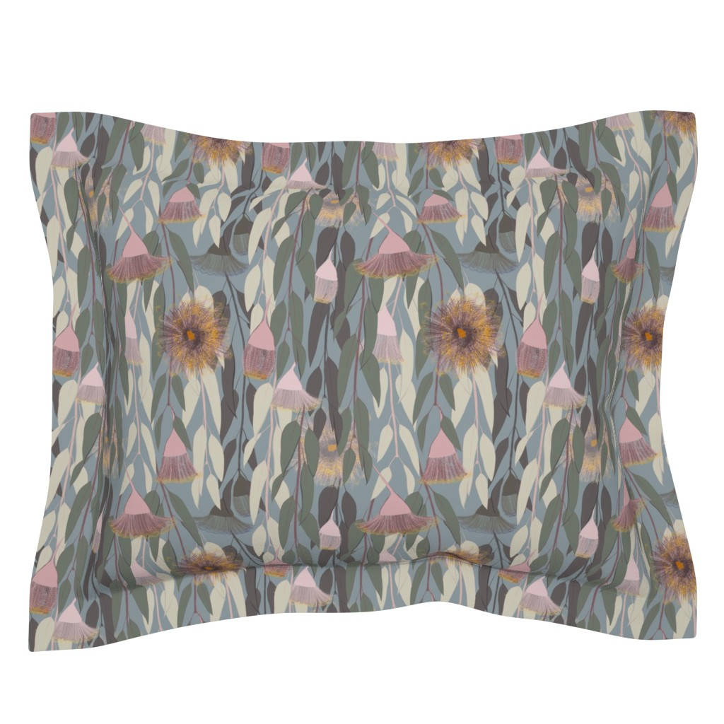 Sebright Pillow Sham featuring Flowering eucalyptus, australian flora by friedlosundstreitsuechtig