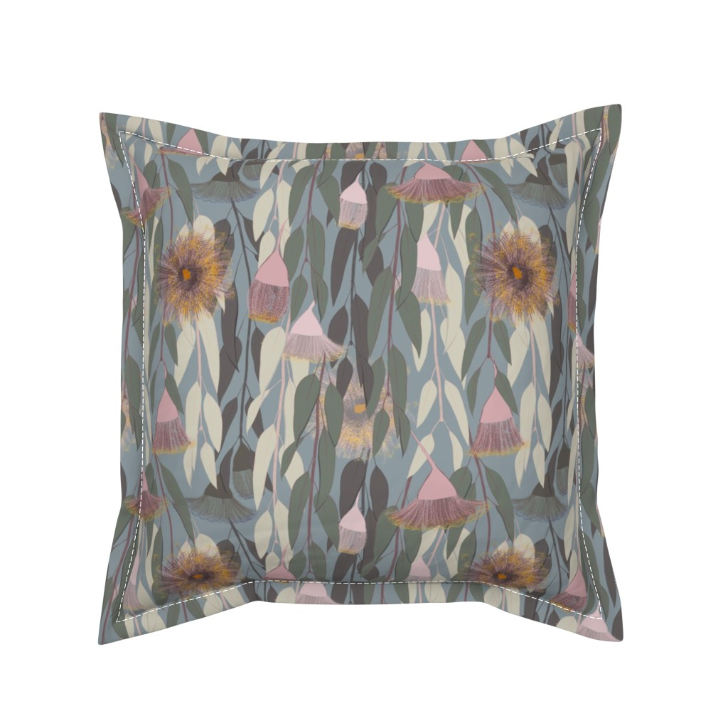 Serama Throw Pillow featuring Flowering eucalyptus, australian flora by friedlosundstreitsuechtig