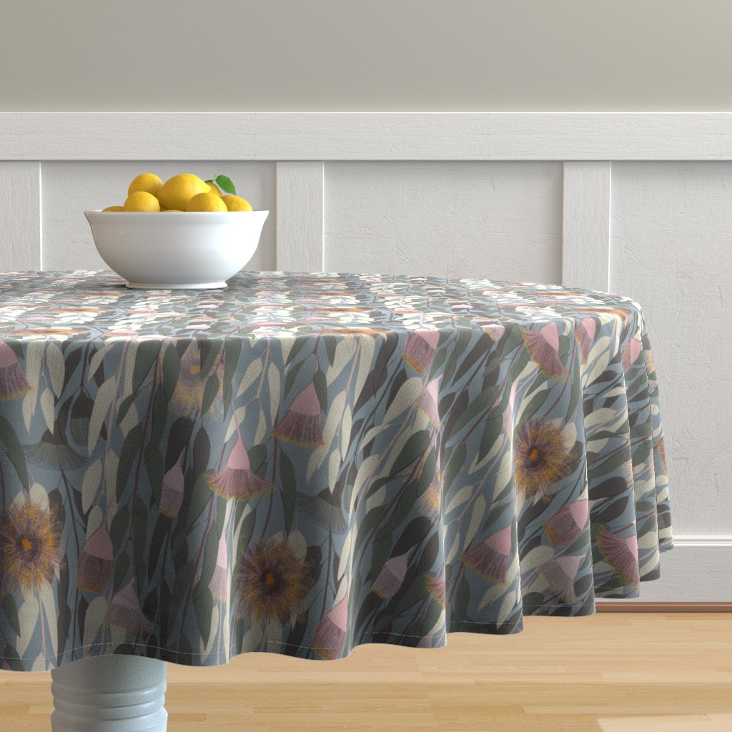 Malay Round Tablecloth featuring Flowering eucalyptus, australian flora by friedlosundstreitsuechtig