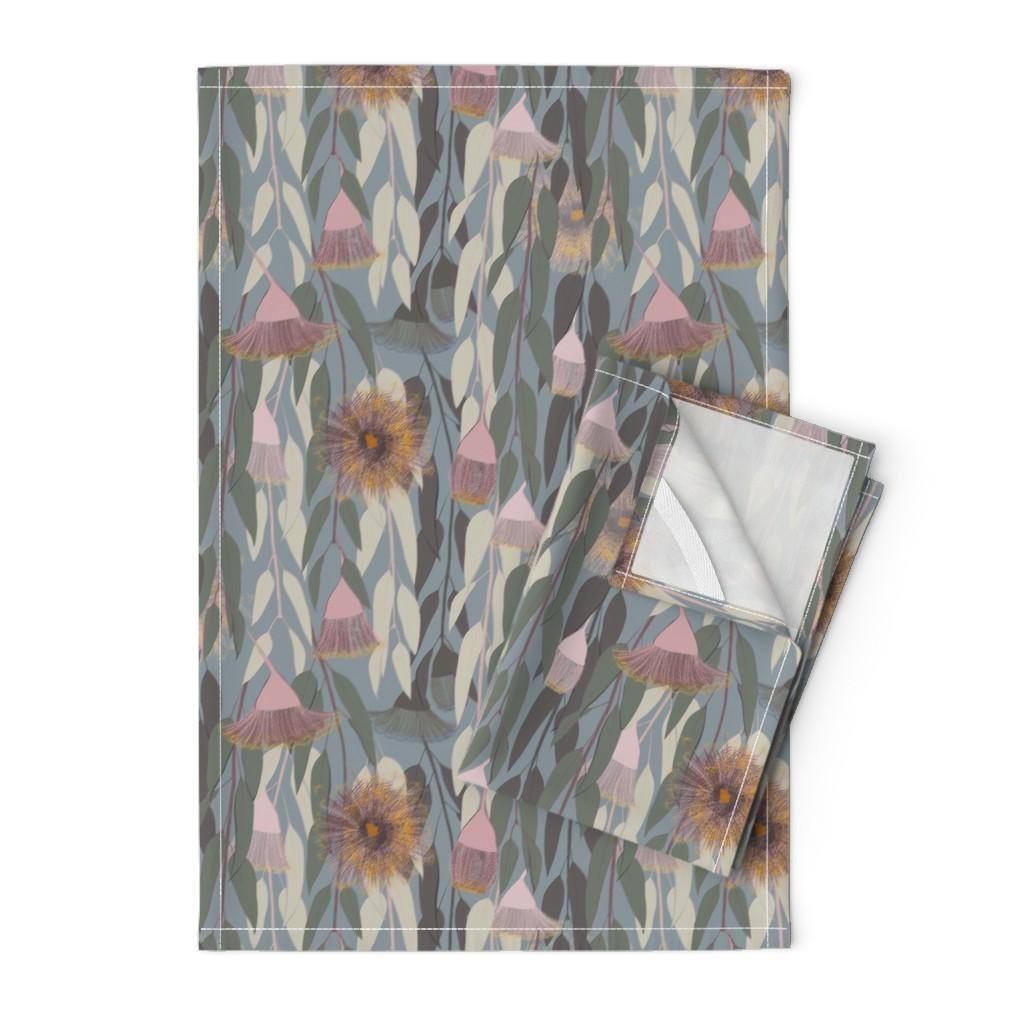 Orpington Tea Towels featuring Flowering eucalyptus, australian flora by friedlosundstreitsuechtig