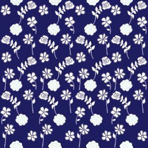 Floral Waves - navy
